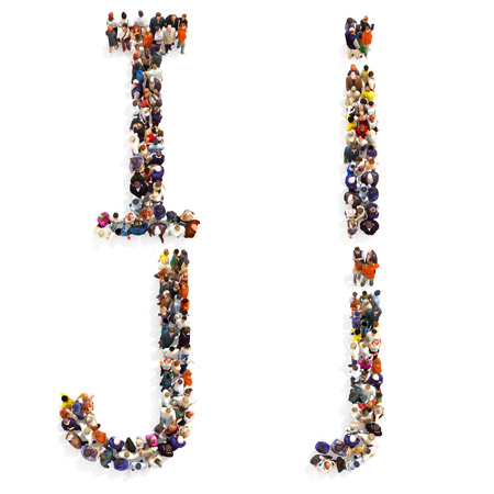 Collection of a large group of people forming the letter I and J in both upper and lower case isolated on a white background. Large 7k resolution map ,additional letters available, 3d rendering.
