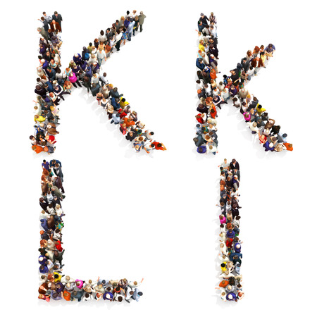 Collection of a large group of people forming the letter K and L in both upper and lower case isolated on a white background. Large 7k resolution map ,additional letters available, 3d rendering. Stock Photo