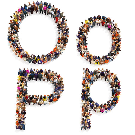 Collection of a large group of people forming the letter O and P in both upper and lower case isolated on a white background. Large 7k resolution map ,additional letters available, 3d rendering. Stock Photo