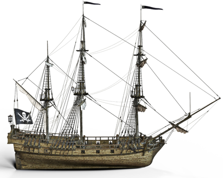 black background: Pirate ship on a white background. 3d rendering