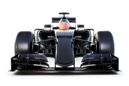 Black Race car and driver front view on a white isolated background.Generic 3d rendering