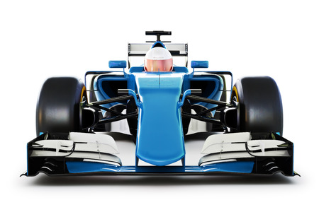 indy cars: Blue Race car and driver front view on a white isolated background.Generic 3d rendering