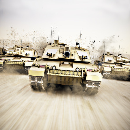 convoy: Military armored tank convoy moving at a high rate of speed with motion blur over sand. Generic photo realistic 3d rendering