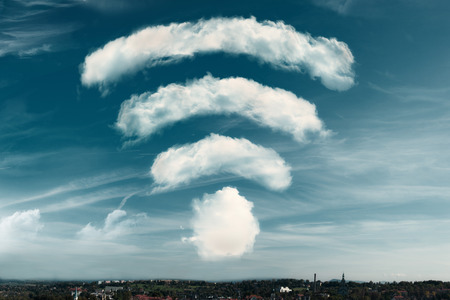 communication: Clouds in the shape of a WiFi symbol on a sky background. Dreaming of better WiFi, or excellent signal coverage concept. 3d rendering