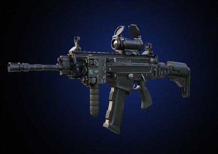 Assault rifle with tactical accessories front and rear sites , and a laser guided rifle scope on a gradient background . 3d rendering