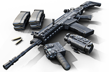 soldiers: Assault rifle with tactical accessories front and rear sites , and a laser guided rifle scope and ammo clips on a white background . 3d rendering