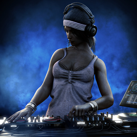 Female club DJ with headphones and turn table mixing it up at a night club party under the blue lights . 3d rendering