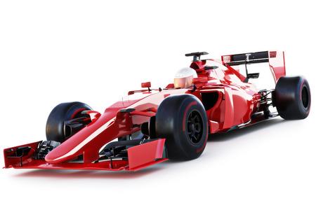 レース車とドライバー分離白地にビューの角度。3 d レンダリング 写真素材