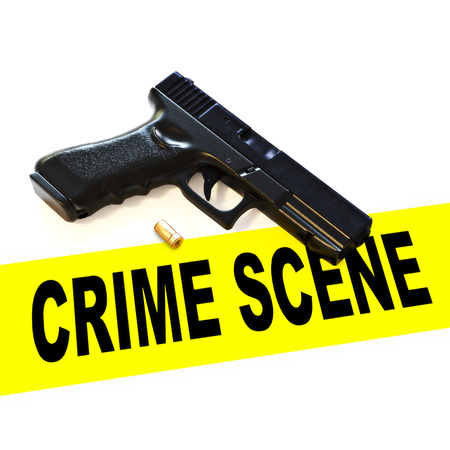 Crime scene with pistol hand gun weapon , expelled round and crime scene tape on a white background. 3d rendering