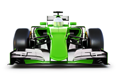 Vooraanzicht van een groene raceauto met chauffeur op een witte achtergrond geïsoleerd. 3D-rendering Stockfoto