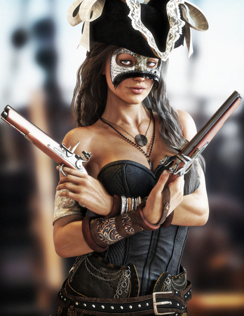 Portrait of a sexy Pirate female standing on the deck of her ship wearing a corset and secretive mask and twin pistols drawn. 3d rendering
