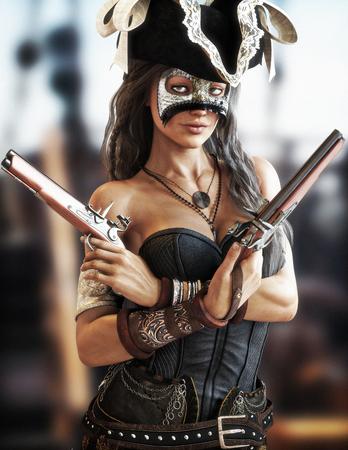 Portret van een sexy piraat vrouw staande op het dek van haar schip het dragen van een korset en geheimzinnige masker en twee pistolen getrokken. 3D-rendering