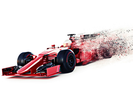 Red gara sportiva a motore anteriore auto angolato vista eccesso di velocità su uno sfondo bianco con effetto di dispersione di velocità. rendering 3D