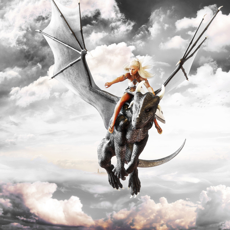 Dragon rider, Blonde female riding the back of a black flying dragon. Fantasy 3d rendering Stock Photo