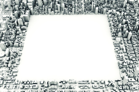 room for text: Architectural 3D model illustration of a large city on a white background with a cut out square with room for text or copy space. 3d rendering