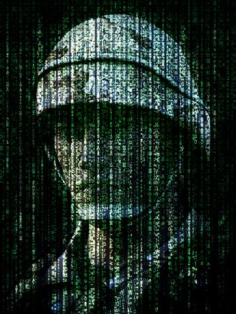 concepto de la guerra cibernética. Soldado militar incrustado en el código binario del símbolo del Internet del ordenador. Las 3D