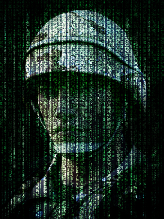 Cyber warfare concept. Military soldier embedded into computer internet symbol binary code. 3d rendering