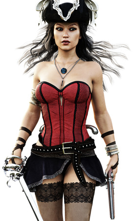 Portrait of a sexy Pirate female walking toward the camera wearing a corset,stalkings and skirt with pistol and sword. 3d rendering. Stock Photo