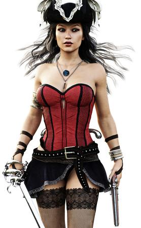 Portret van een sexy piraat vrouw lopen naar de camera het dragen van een korset, Stalkings en rok met een pistool en zwaard. 3D-rendering.
