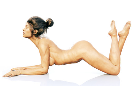 3d nude: Fit female posing nude on a reflective floor. 3d rendering on a white background. Stock Photo
