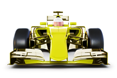 front view: Front view of a yellow race car and driver on a white isolated background. 3d rendering Stock Photo