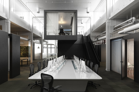 office desk: Executive modern empty business office conference room with overhead skylights and industrial accents .Photo realistic 3d rendering