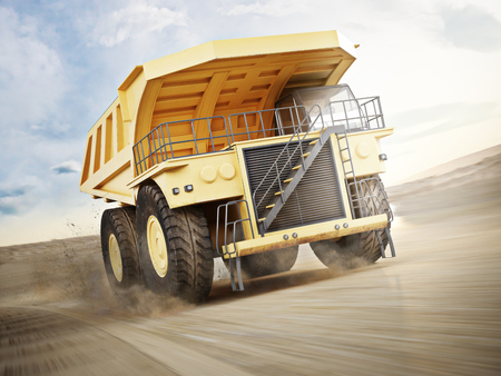 dirt: Mining truck transporting materials down a dirt road . 3d rendering with motion blur.