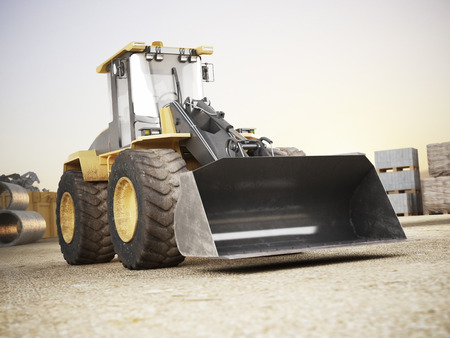 Bulldozer on a building construction site. 3d rendering
