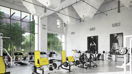 Fitness gym with an industrial setting. 3d rendering Standard-Bild