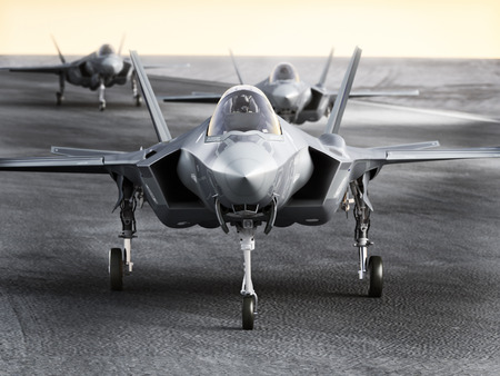 aircraft bomber: Multiple F35 military jet strike aircraft preparing for takeoff on a strike mission. 3d rendering