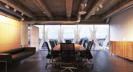 Executive moderne lege business high rise kantoor vergaderzaal met uitzicht op een stad met industriële accenten. Foto realistische 3D-rendering