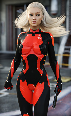 cyber war: Confident sexy Female scifi soldier in cyber suit with depth of field background . 3d rendering Stock Photo