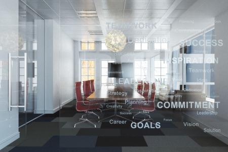 oficina habitación ejecutiva contemporánea de vacío de gran altura con vistas a la conferencia una ciudad con los objetivos de negocio de inspiración grabados en la pared de vidrio .Foto realista representación 3D Foto de archivo