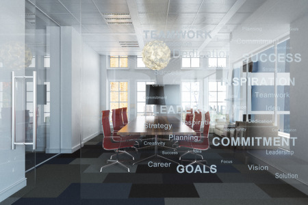 ejecutivo en oficina: oficina habitación ejecutiva contemporánea de vacío de gran altura con vistas a la conferencia una ciudad con los objetivos de negocio de inspiración grabados en la pared de vidrio .Foto realista representación 3D