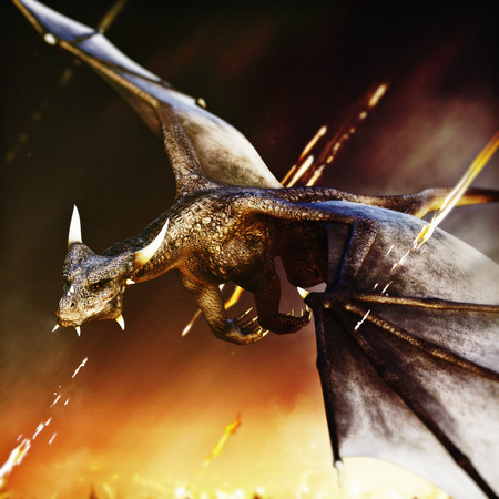 big: Fire breathing dragon rushing in for another attack. 3d rendering Stock Photo