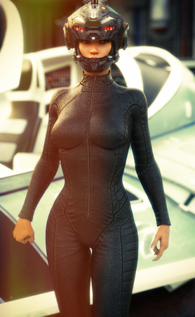 Science Fiction female pilot wearing helmet and uniform returning from a mission with space ship in background. 3d rendering