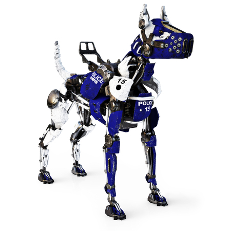 Futuristic robot mechanical cyborg police dog on a white background. 3d rendering Stock Photo
