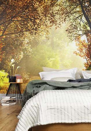 Interieur van een gezellige rustieke slaapkamer met een land natuur muur muurschildering achtergrond. 3D-rendering