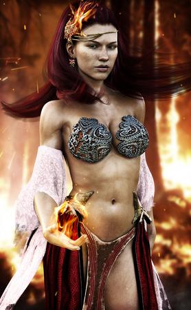 火災フェニックス、セクシーな火災彼女の手と灼熱黒焦げの背景から来る炎を振り回す女性。3 d レンダリング