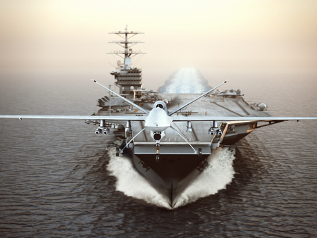 Military Drone aircraft launching from an aircraft carrier on a strike mission. 3d rendering Foto de archivo