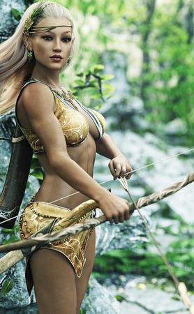 ファンタジー金髪女性ウッドエルフ アーチャー弓と矢のガードを立っています。3 d レンダリング 写真素材