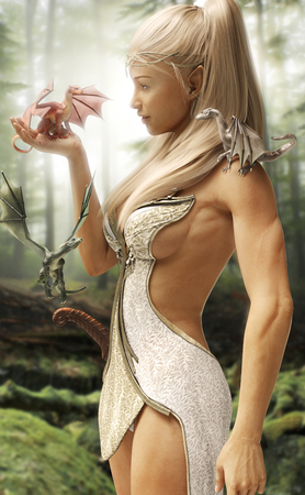 elves: Fantasy wood elf female and her three mythical dragons in an enchanted forest. 3d rendering