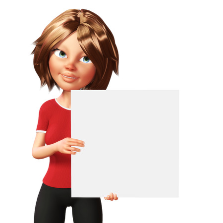 Business woman holding a white board.3d rendering Stock Photo