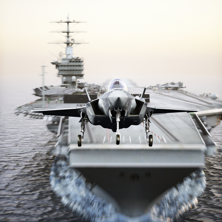 Carrier jet takeoff . Advanced aircraft jet taking off from a navy aircraft carrier. 3d rendering Stock Photo