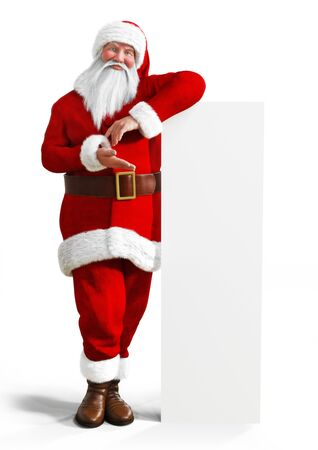 Santa Claus leaning a white board mock up advertisement on a white background.Room for text or copy space. Smiling Santa Claus pointing at a white blank sign. Christmas theme, sales .3d rendering 免版税图像