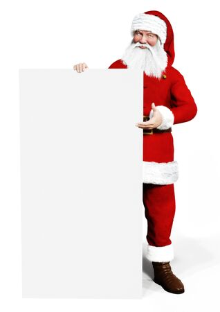 Smiling Santa Claus holding a white board mock up on a white background. Room for text or copy space. Smiling Santa Claus pointing in white blank sign. Christmas theme, sales .3d rendering
