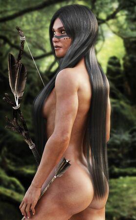 indio americano: Mujer del nativo americano de espíritu libre con una larga caza cabello sedoso en el bosque. Representación 3D