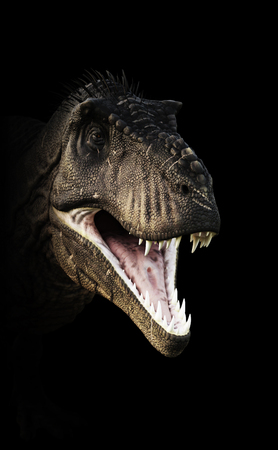 large: A Tyrannosaurus Rex head piercing through the darkness. 3d rendering