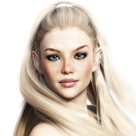 ortrait of a adorable fantasy character. Elegant female elf with a white background. 3d rendering 版權商用圖片