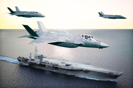 Military Jet strike force squadron flying overhead in formation with a naval carrier in the distance.   Depth of field and motion blur applied . 3d rendering Stock Photo